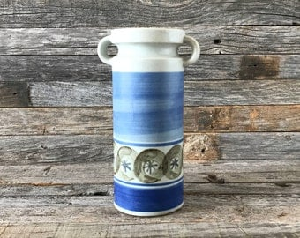 Vintage UCTCI Vase Scandinavian Modern Style White And Blue, UCTCI Japan