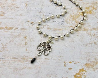 Long Pearl Necklace | Cream Pearls |  Pearl Necklace | Long Necklace | Silver Pendant | Pendant Necklace | Black and White | Victorian