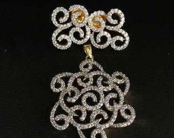 Indian Pendant Set - Indian Jewelry - Indian Diamond Jewelry - Indian Bridal - South Indian Jewelry - Bollywood Jewelry - Kundan Jewelry -