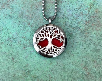 30mm Stainless Steel Tree Of Life Essential Oil Diffuser Necklace, 3D Branches, Aromatherapy, Homeopathy, Tree Of Knowledge, Gift Idea