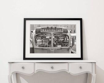 Old Washington DC Photograph,  Washington DC Bus, Industrial Decor, City Decor, 1940, Black and White Photo Print