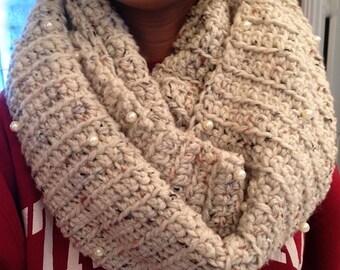 Pearl Crochet Infinity Scarf