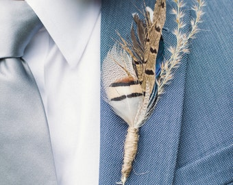 Feather Boutonnieres - Custom Handcrafted