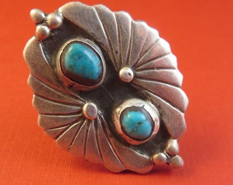 Vintage Turquoise Old Pawn Ring Size 6 1/2 Southwest 15 Grams Sterling Silver