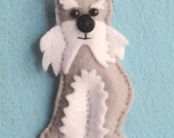 Felt Schnauzer Dog Brooch, Handmade with a Button Nose. Ideal Gift