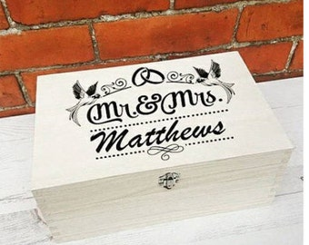 Personalised wedding keepsake memory box/Gift large selection of colour choices available.