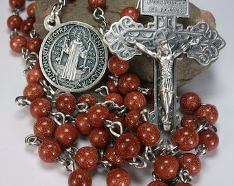 Handmade Goldstone Rosary with Pardon Crucifix and St. Benedict Center