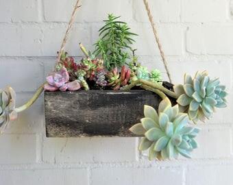 Rustic Reclaimed Wood Hanging Planter Box