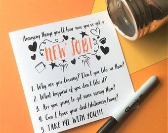Funny New Job Card, New Job Card, Funny Sorry You're Leaving Card, Funny Leaving Card, Funny Job Card, Funny Congratulations Card, Congrats