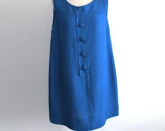 Vintage 1960s Blue Cotton Linen Dress / Mods Shift Mini Dress, Maxlim