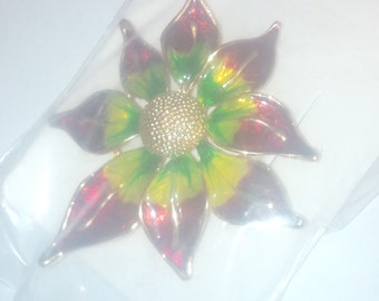 Hand Painted Green, Yellow and Red Pin