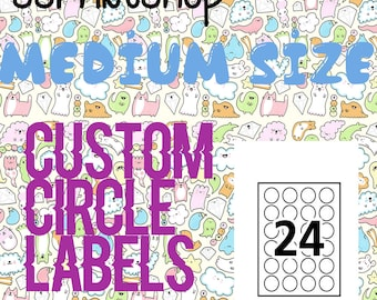 "Custom 12 Pack High Quality Circle Labels (2"" Diameter/Size)"