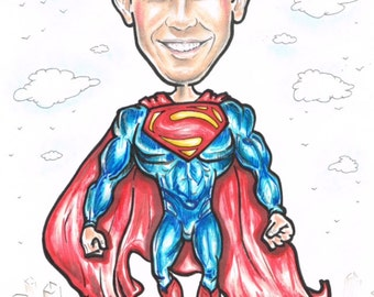 Personalised caricature from photo A3, novelty gift
