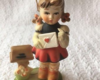 Vintage Girl Ornament, Hummel-like, Made in Hong Kong, 1950s