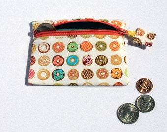 Donut Coin purse, small pouch, zipper pouch, zipper wallet