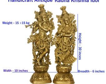 radha krishna BAS murti, antique radha krishna BAS murti, radha krishna BAS idol, radha krishna pooja idols, radha krishna handicraft statue