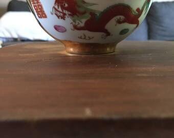 Antique Gold Chinese Rice Bowl set Dragon Phoenix
