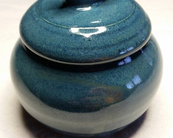 Little Blue Bird Lidded Pot