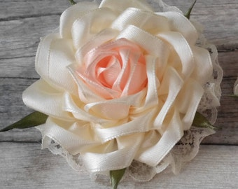 Hair clip with rose 2pcs, hair accessories, flowers of ribbons, hair clip with rose of ribbon