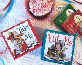 Alice in Wonderland Party Favors Boxes | Eat Me Take Me | Birthday Wedding Shower | Personalized Custom | Wonderland Table Decor | Set of 24