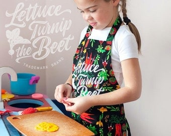 lettuce turnip the beet ® KID APRON - trademark brand official site -  veggie print - garden - vegan - farmers market -  chef - Made in USA