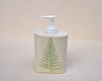Garden Fern Soap Dispenser / Handmade Pottery Pump Jar