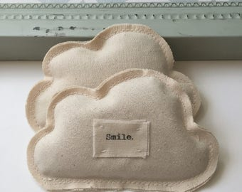 Lavender Cloud Sachet Ornament Set, Smile Appliqued cloud sachet, cotton fabric scrap lavender sleep, dream, aromatherapy sachets - No. 69
