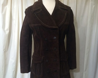 Vintage 60s 70s dark Cocoa brown SUEDE Coat Leather Double Breasted Jacket
