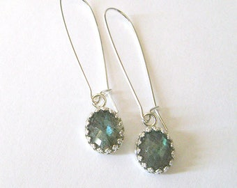 Iridescent Labradorite Gemstone Filigree Earrings, Sterling Silver Oval Crown Setting, Long Kidney Wires, Hooks Posts or Leverbacks