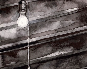 Spooky Light Bulb Ink Drawing - Horror Story Art by Jen Tracy - No Sleep Podcast Original Illustration of Basement Bulb - Scary Story Art