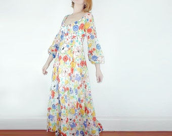 70s Bright Flowery Romantic Long Dress by Lanz S
