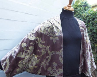 Versailles - Antique Mauve and Gold Kimono Wrap - 1930s Style Glamour in printed Velvet