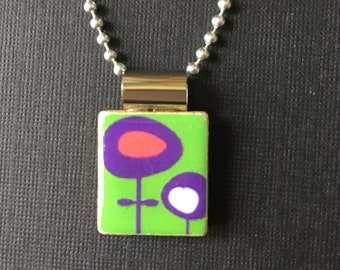 Whimsical Handmade Flower Jewelry, Pop Art Flower Pendant, Green and Purple necklace, Funky Flower Pendant, recycled Scrabble Tile Jewelry