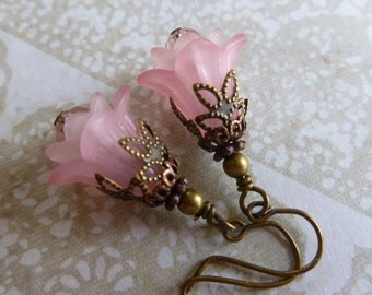 Powder Pink Spring Flower Earrings with Lucite Flowers, Czech Glass and Antiqued Copper
