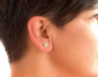 Solid Gold Earrings Dandelion Earrings Flower Earrings Dainty solid 14k solid Gold Dandelion post earrings gift for her womens gift for wife