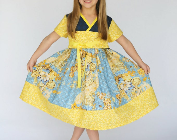 Blue and Yellow Spring Dress - Girls Birthday Dress - Kimono Dress - Toddler Girl Clothes - Teen Preteen Fashion - 12 months to 14 years
