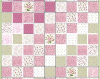 Gorgeous~Shabby Cottage Chic~Precut Quilt Kit Fabric~Roses~Pink & Green~QK#52