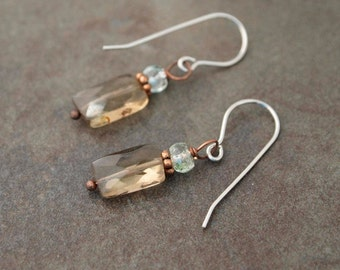 Moss Aquamarine and Smoky Quartz Earrings