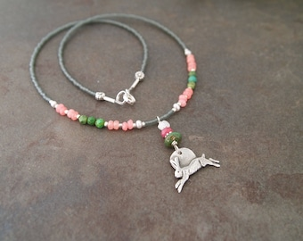 Beaded Gemstone and Running Hare Necklace