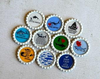 Funny Shark Bottlecap Magnets- Shark Lover- Shark Birthday- Gift for Him- Set of 10 Strong Magnets