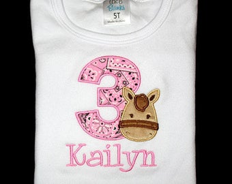 Custom Personalized Applique Birthday Number with Minky HORSE and NAME Bodysuit or Shirt - Pink Bandana