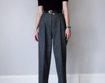 80s grey wool high waist pleated pants (xs - s)