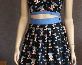 skirt / play suit / halter top / vintage pattern / 50's pattern / classic / black/ retro / pinup / OOAK / 1950s