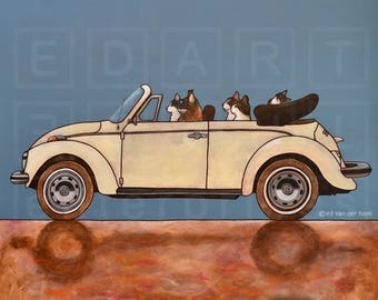 "226 Cat driving VW cabrio - print 14x14cm/5.5x5.5"" signed and numbered"