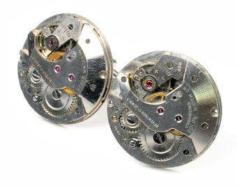 Vintage Large Round Watch Movement Steampunk Cuff Links