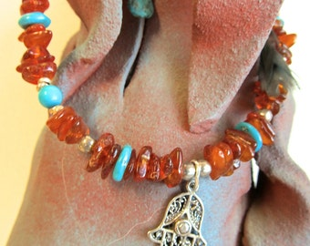 Sterling Hamsa Anklet w Amber and Turquoise
