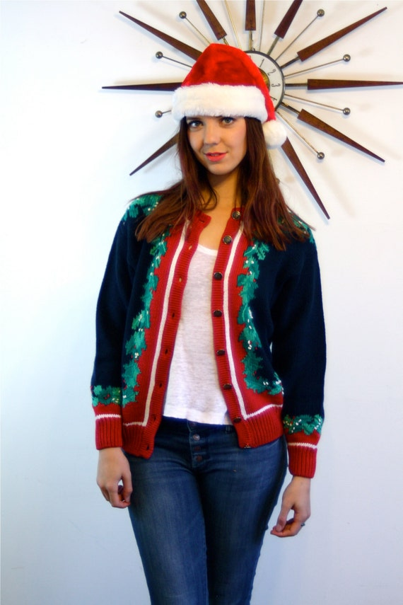Vintage 80s Ugly Christmas Sweater Navy Blue Cardigan Red Green Holly Leaf Silver Button Down Cotton Knit Stripe 1980s Holiday ORVIS Jumper