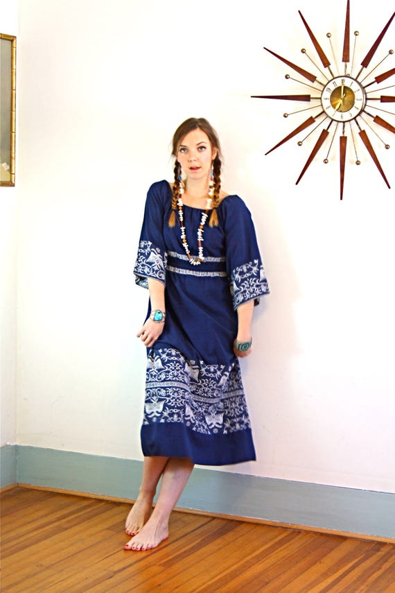 Vintage 70s Ethnic Byzantine Embroidered Dress Blue Greek Key Double Two Headed Eagle Folk Art Hippie Peasant Dress 1970s Long Bell Sleeve