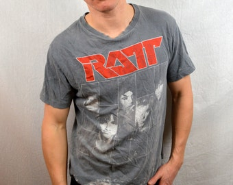Vintage Ratt Disressed Tour 1987 80s Rock Tour Tee Shirt