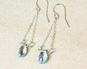 Silver Marquise Sky Blue Topaz Earrings - Dangle Earrings - December Birthstone